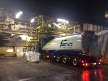 Lorry loading up at Carmarthen Mill
